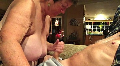 Mature handjob, Swallow cum