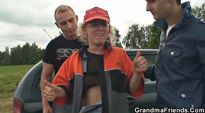 Granny threesome, Old and young, Street, Milf and boy, Boys