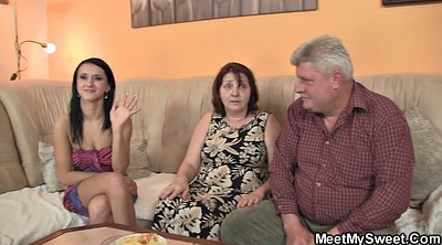 Old, Grannies, Young couple, Old young threesome