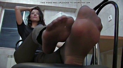 Pantyhose, Leather, Nylon foot, Foot fetish