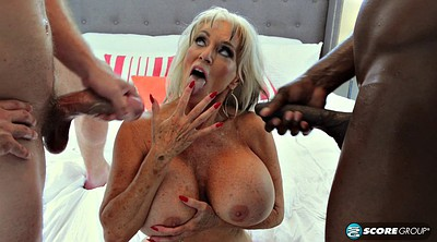 Milf, Double, Interracial swallow, Monster tits