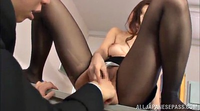 Office, Asian pantyhose, Asian lick, Asian finger