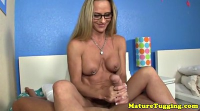 Mature handjob, Uniform, Pierced nipples
