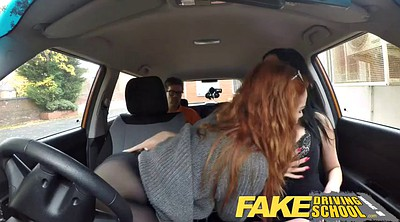 School, Teen big tits, Fake driving