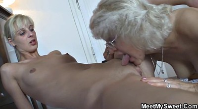 Granny, Young couple, Young girls, Granny threesome