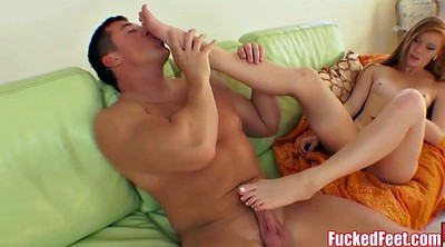 Footjob, Teen foot, Small footjob, Red, Big foot
