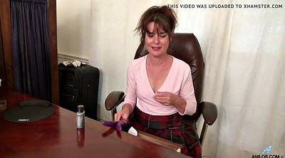 Milf, Hairy granny, Office masturbation
