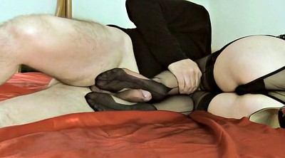 Black stockings, Stocking feet, Stocking footjob, Ebony footjob