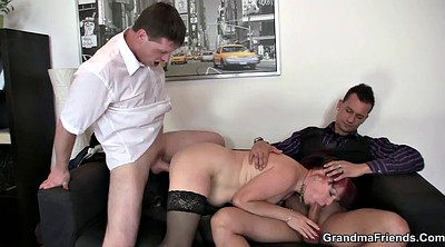 Mature threesome, Old woman