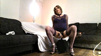 Heels, Chastity, Riding dildo, Shemale heels, Dildo riding