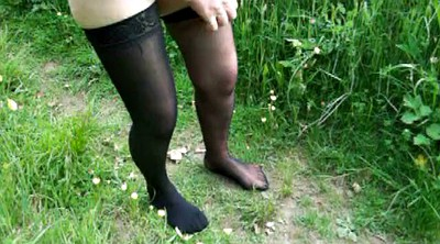 Mature stocking, Outdoor naked, Mature outdoor