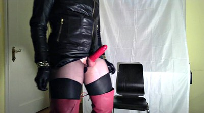 Leather, Crossdress, Gloves, Glove, Milk gay, Gloves handjob