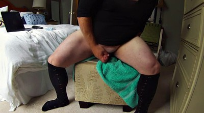 Cd, Peeing, Puffy, Puffy pussy, Chubby dildo