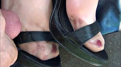Nylon feet, Stockings feet, Stocking foot, Nylon foot, Cum shoe, Cum on feet