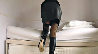 Pantyhose, Stockings, Leather, Ebony stocking, Miniskirt