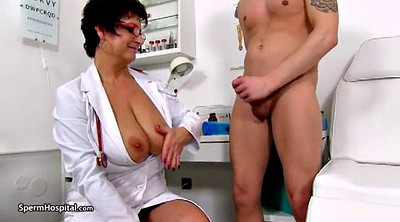 Mature handjob, Sperm, Hospital, Cougar milf