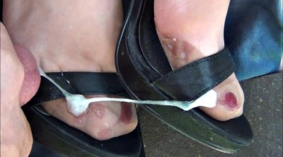 Stocking, Shoes, Satin, Cum shoes, Stocking foot, Nylon foot