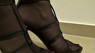 Stockings footjob, High heels, Stocking footjob, Heels
