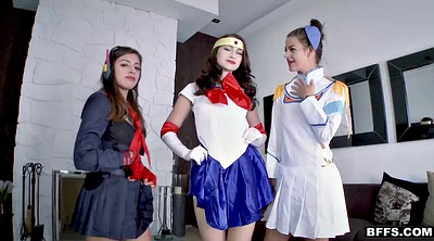 Cosplay, Three, Cosplay blowjob, Sluts, Bffs