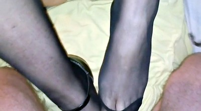 Footjob, Ebony, Nylon feet