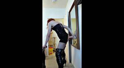 Sissy, Big boots, Sucking dildo, Boot
