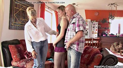 Family, Very young, Very old granny, Mom teach, Family threesome