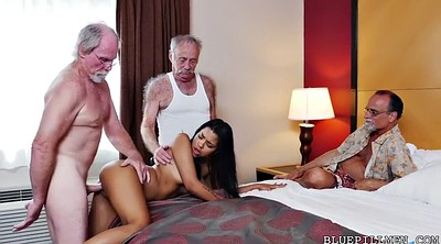 Hotel, Farting, Three, Pickup, Foursome, Granny gangbang