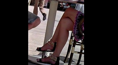 Candid, Leg, Cafe, Sexy foot, Sandal