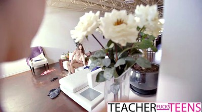 Threesome, Young student, Hot teacher, Teacher fuck student