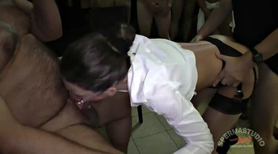 Julie, Office sex, German gangbang, German creampie gangbang, Anna