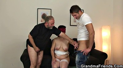 Old milf, Very young, Wife threesome, Enjoys, Granny threesome