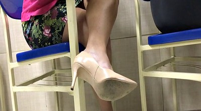 Candid, Feeting, Shoeplay, High-heeled, Tatoo, Dangling