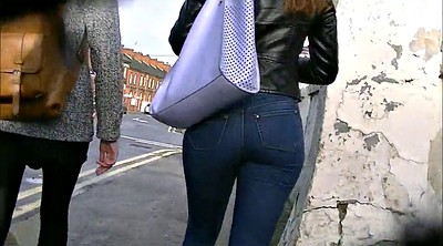 Amateur, Candid, Redhead ass, Candid ass, Tights, Tight jeans