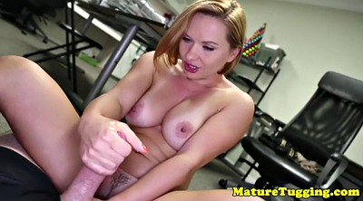 Wank, Officer, Hours, Busty office, Milf handjob, Mature milf