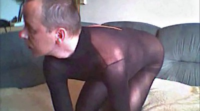 Pantyhose, Crossdresser, Public pantyhose, Nylon handjob, Black stockings, Black pantyhose