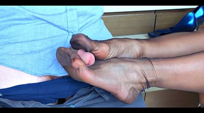 Nylon footjob, Femdom footjob, Stocking footjob, Nylon feet, Cfnm, Stockings footjob