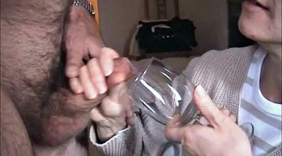Mature blowjob, Glasses, Drink