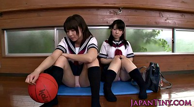 Asian schoolgirl, Japanese threesome, Hairy teen