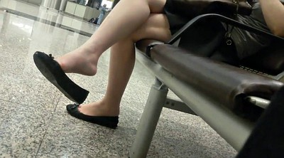 Asian feet, Shoeplay, Candid
