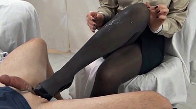 Nylon, Nylon feet, Stockings cum, Nylon handjob