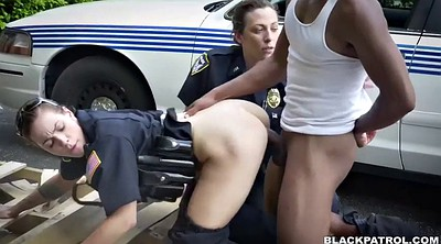 Police, Tits, White big ass, Two black, Run, Chubby ass