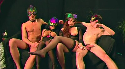 Party, Swinger foursome, Milf creampie, Mask, Big tits milf