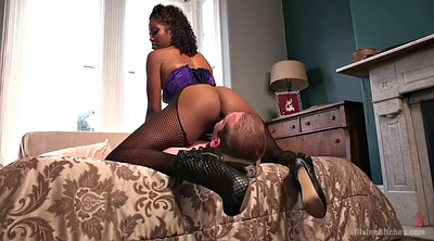 Eating pussy, Black man, White pussy, Fishnet, Face licking, Dominatrix