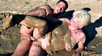 Pig, Mud, Mature group, Group wife, Big wife