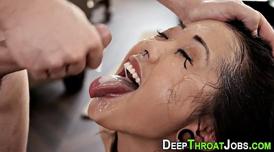 Throat cum, Cum throat, Asian deep throat blowjob