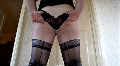 Crossdresser, Stockings solo, Pantyhose masturbation