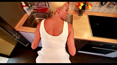 Kitchen, Blonde creampie, Eating, Creampie eating, Amateur german