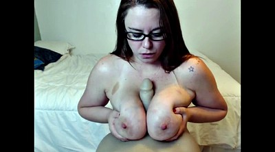 Chained, Chain, Chains, Big tits glasses, Glasses handjob