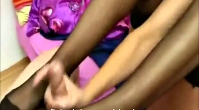 Footjob, Nylon, Nylon feet, Nylon footjob