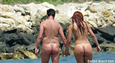 Nudist, Voyeur beach couple